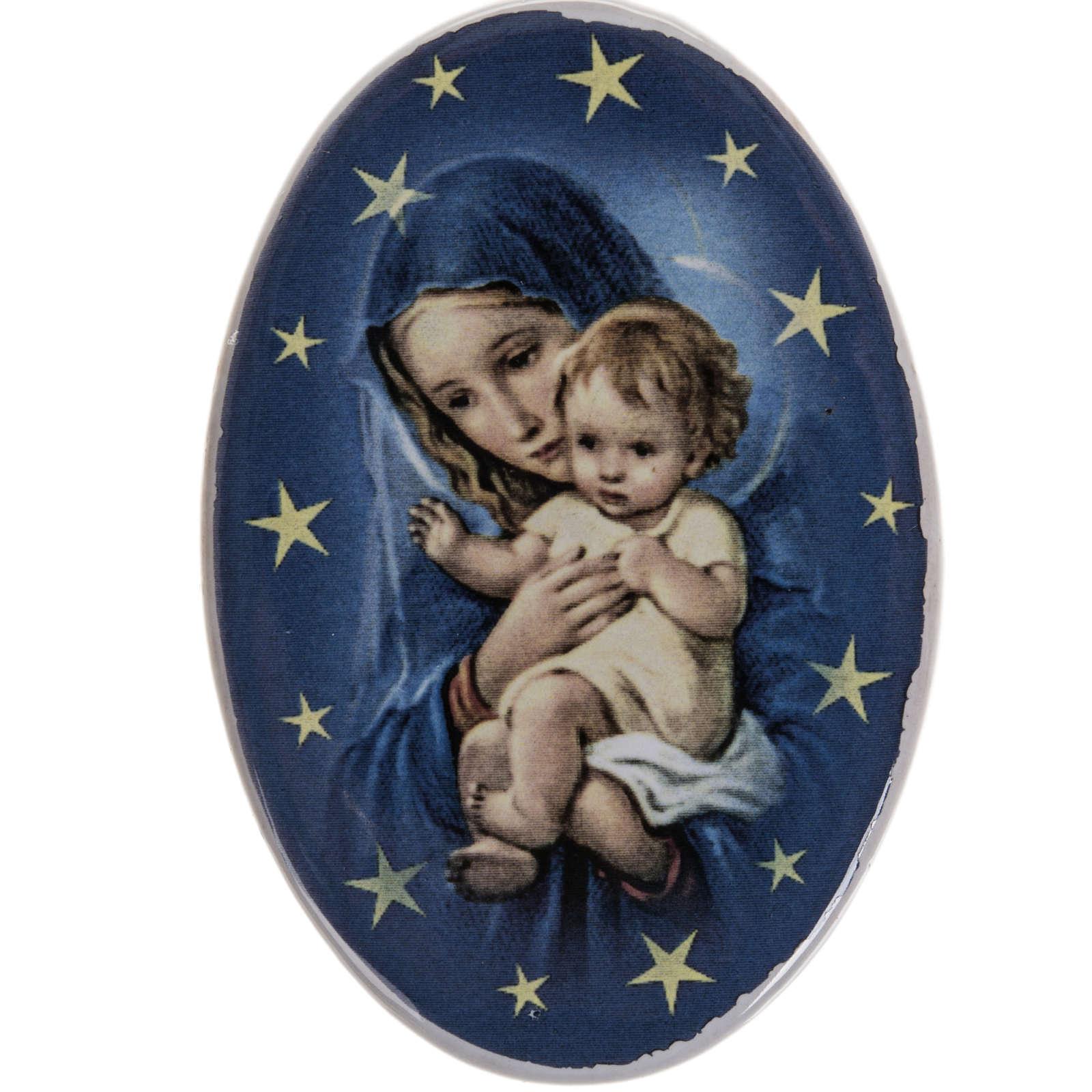 Calamita tonda ceramica Maria con bambin Gesù 3