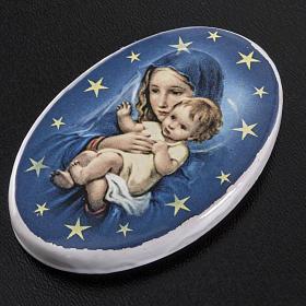 Calamita tonda ceramica Maria con bambin Gesù s2