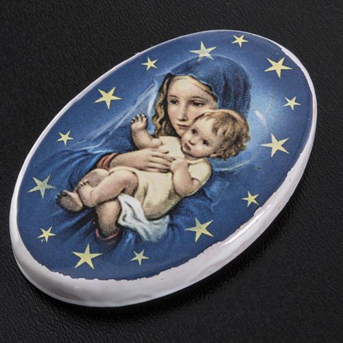 Calamita tonda ceramica Maria con bambin Gesù 2