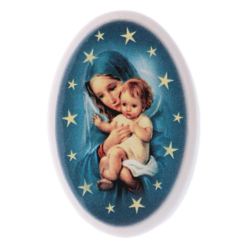 Round shaped magnet Virgin Mary, baby Jesus, terracotta 1