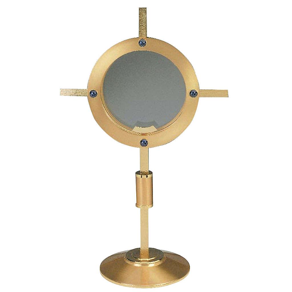 Ostensorio espositore in vetro dorato 4