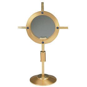 Ostensorio espositore in vetro dorato s1
