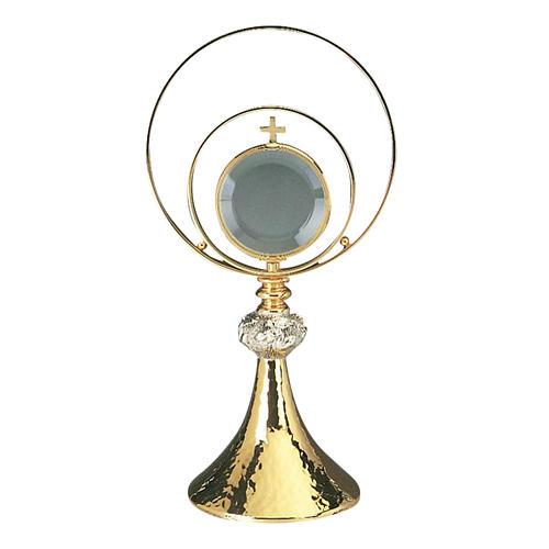 Ostensorio in ottone martellato e lastra argento 1