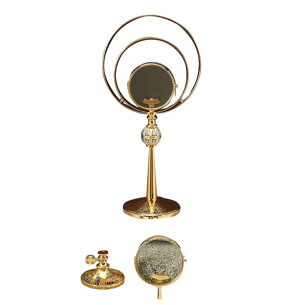 Ostensorio sacro in ottone dorato cesellato e argento 4