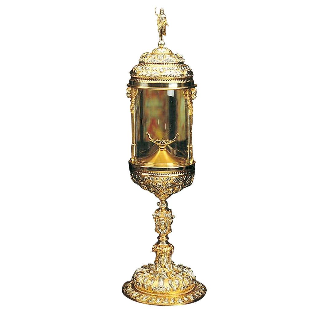 Ostensorio ambrosiano cilindrico argentato dorato 4