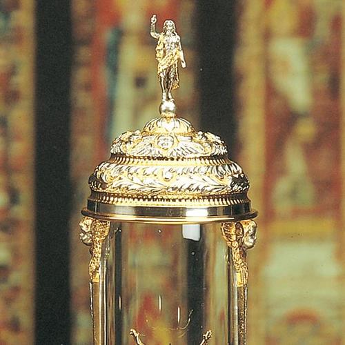 Ostensorio ambrosiano cilindrico argentato dorato 2