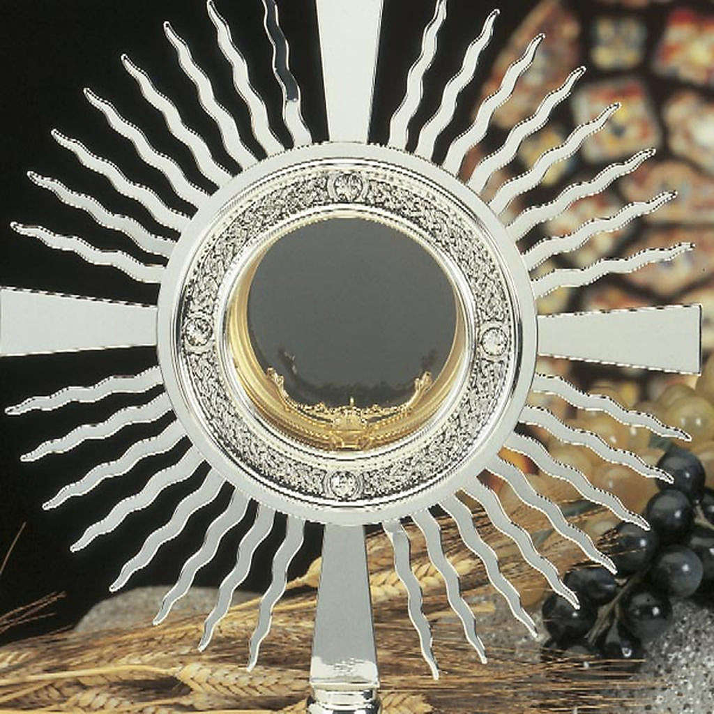 Monstrance silver plated brass with crosses on the base 4