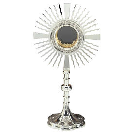 Monstrance silver plated brass with crosses on the base s1