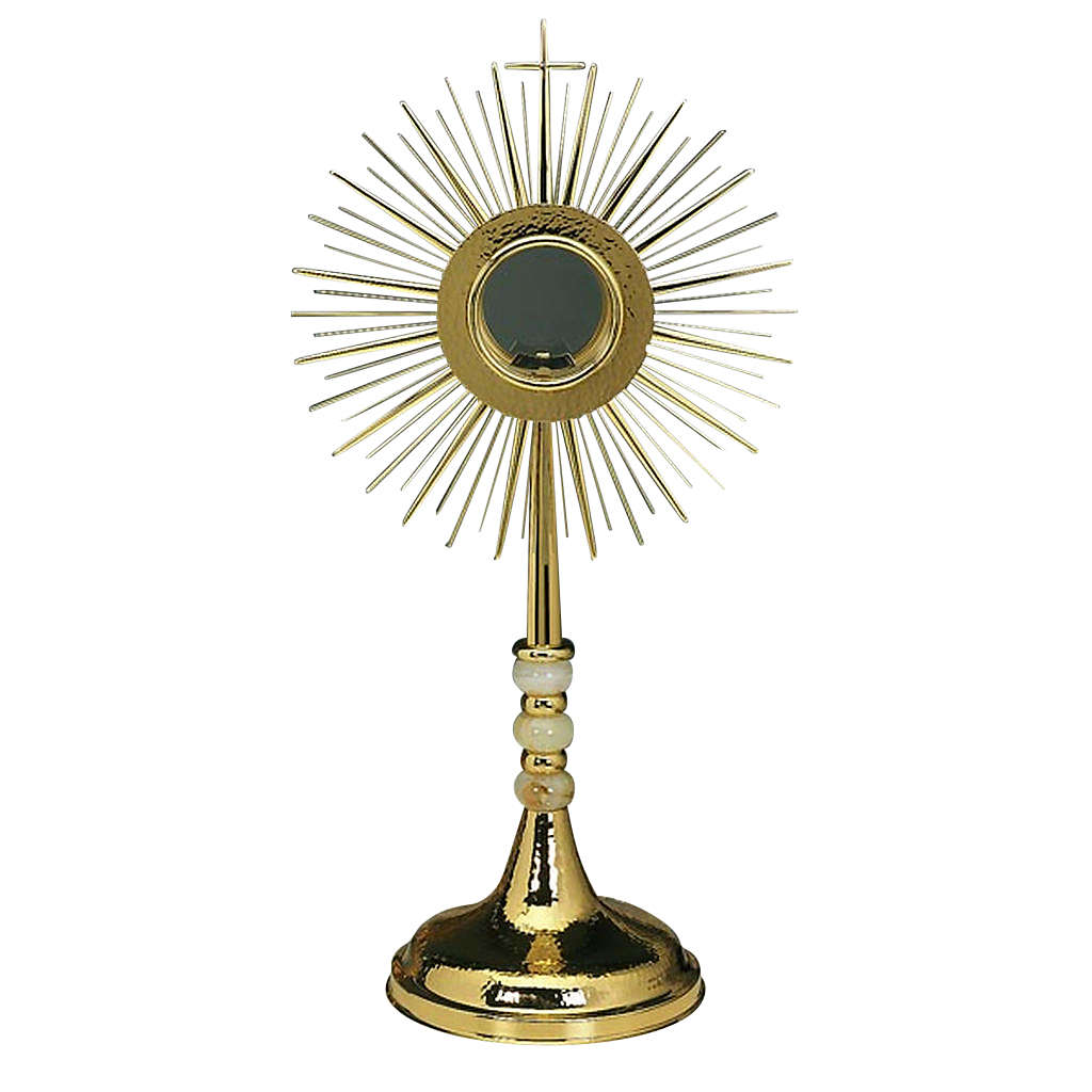 Monstrance with hammered gold-plated brass 4