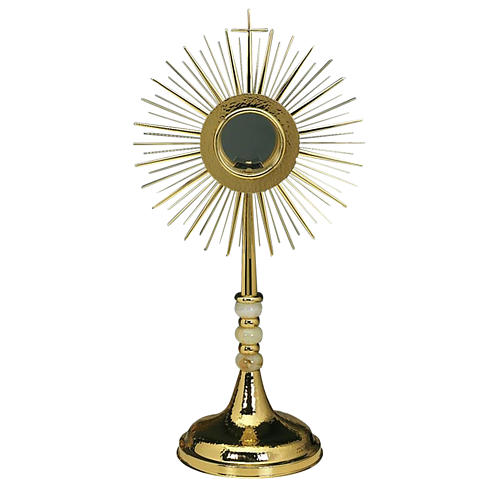 Monstrance with hammered gold-plated brass 1
