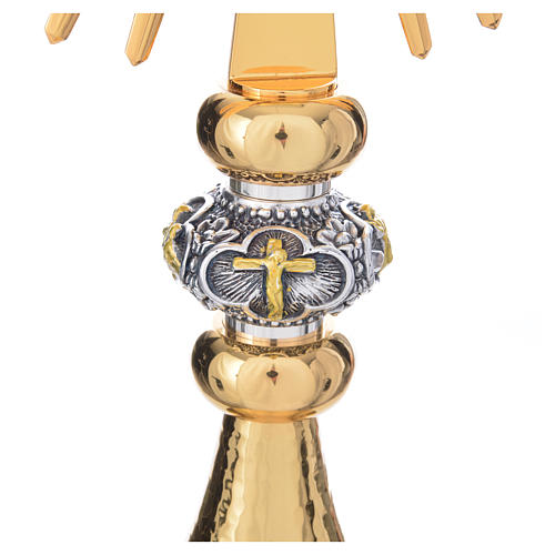 Monstrance hammered gold-plated brass 11