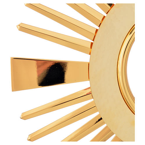 Monstrance hammered gold-plated brass 12