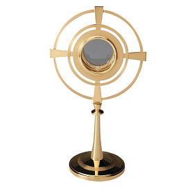 Ostensorio ottone dorato con cerchi s1