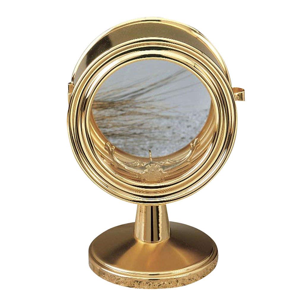 Monstrance, gold-plated brass, glass case 10 cm diameter 4