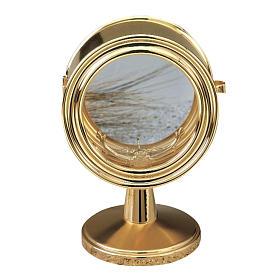 Monstrance, gold-plated brass, glass case 10 cm diameter s1