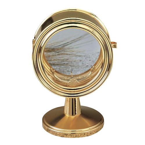 Monstrance, gold-plated brass, glass case 10 cm diameter 1