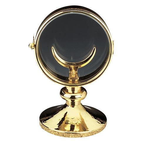 Ostensorio teca ottone dorato diam cm 11 1