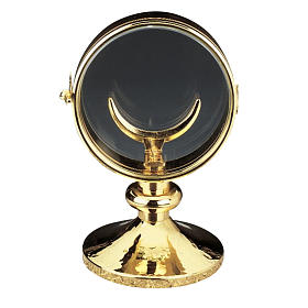 Monstrance, gold-plated brass, glass case 11 cm diameter s1