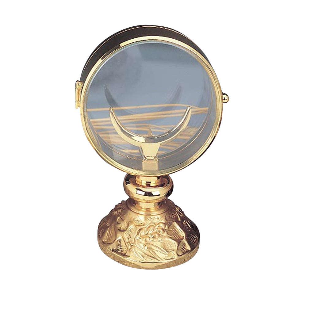 Ostensoir de chapelle en laiton doré 11 cm de diamètre 4