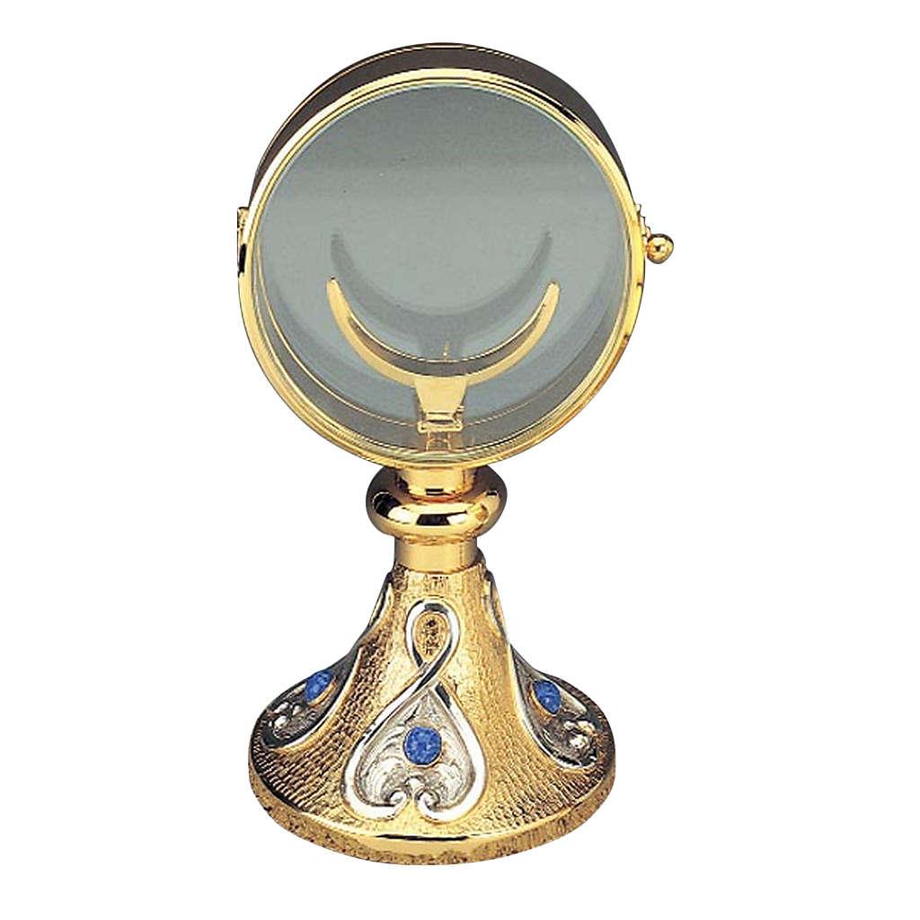 Ostensorio teca ottone cristallo blu diam  cm 11 4