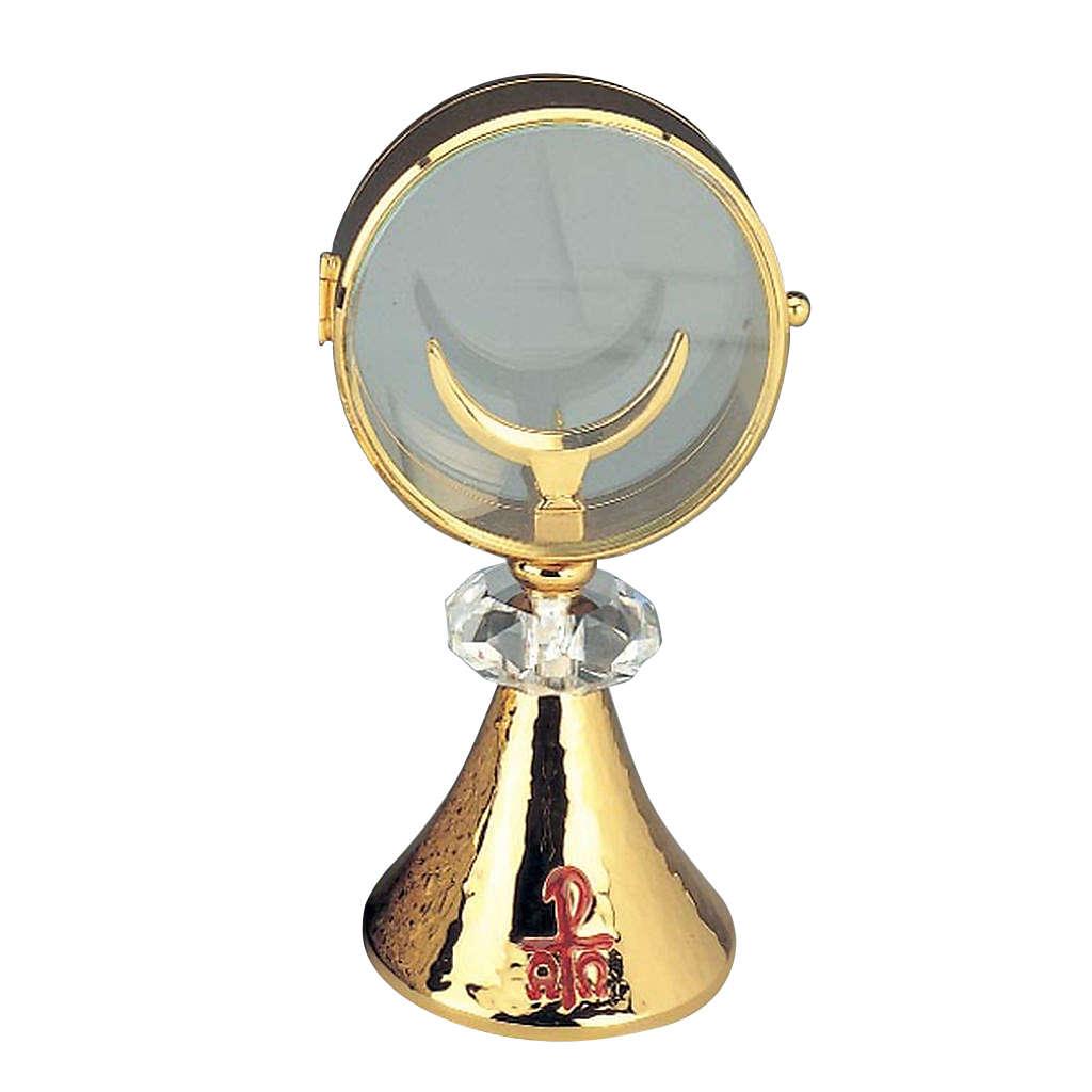Ostensorio teca ottone cristallo diam cm 11 4