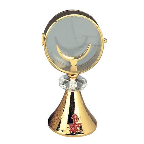 Ostensorio teca ottone cristallo diam cm 11 1