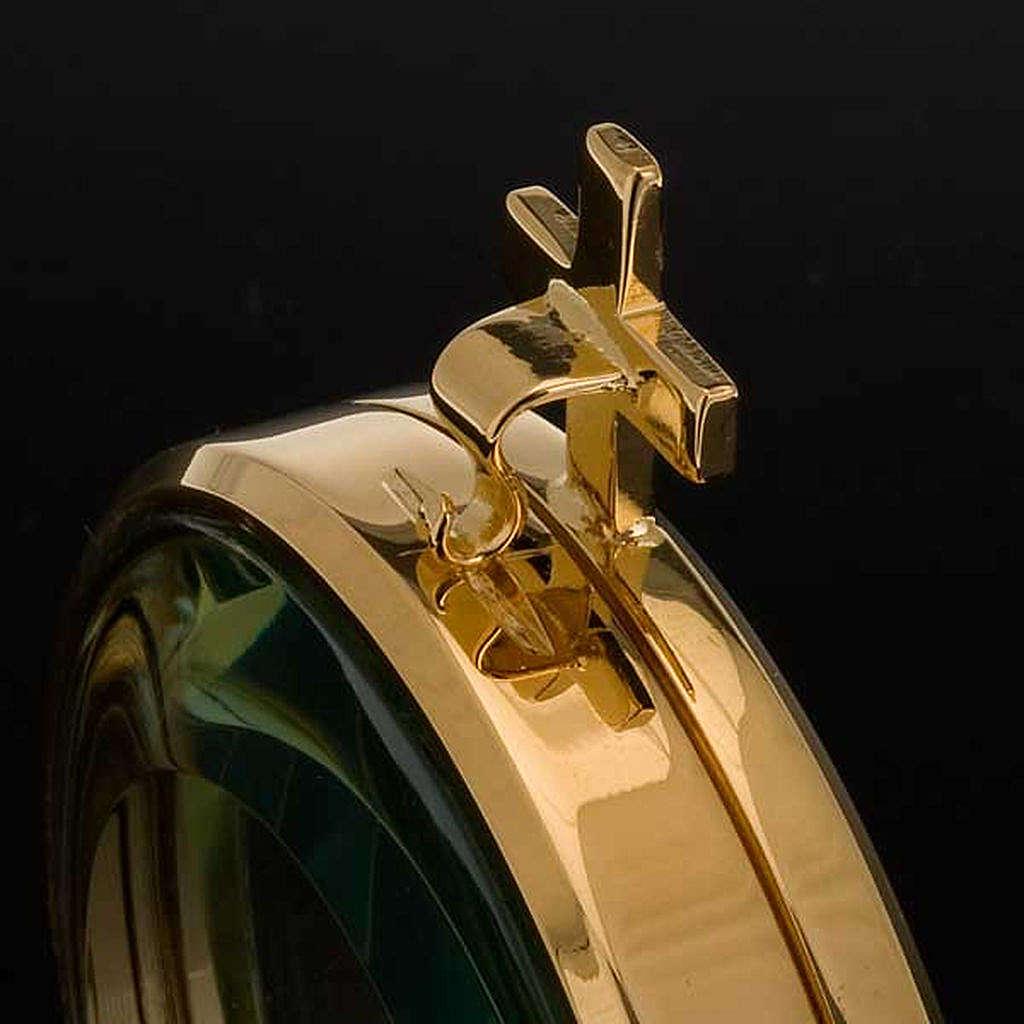 Ostensorio teca ottone dorato diam cm 8,5 4