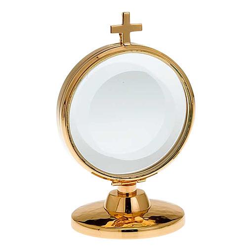 Ostensorio teca ottone dorato diam cm 8,5 1
