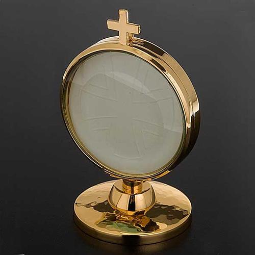 Ostensorio teca ottone dorato diam cm 8,5 2