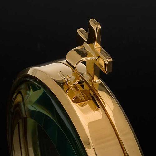 Ostensorio teca ottone dorato diam cm 8,5 3