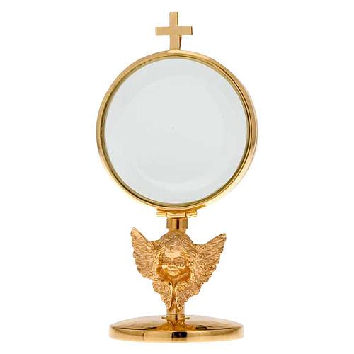 Ostensorio teca ottone angelo diam cm 8,5 1