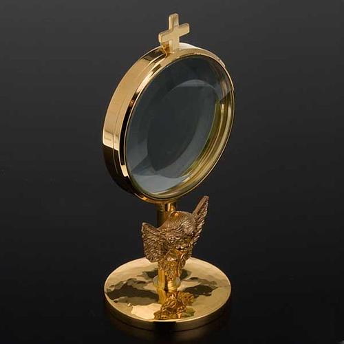 Ostensorio teca ottone angelo diam cm 8,5 2