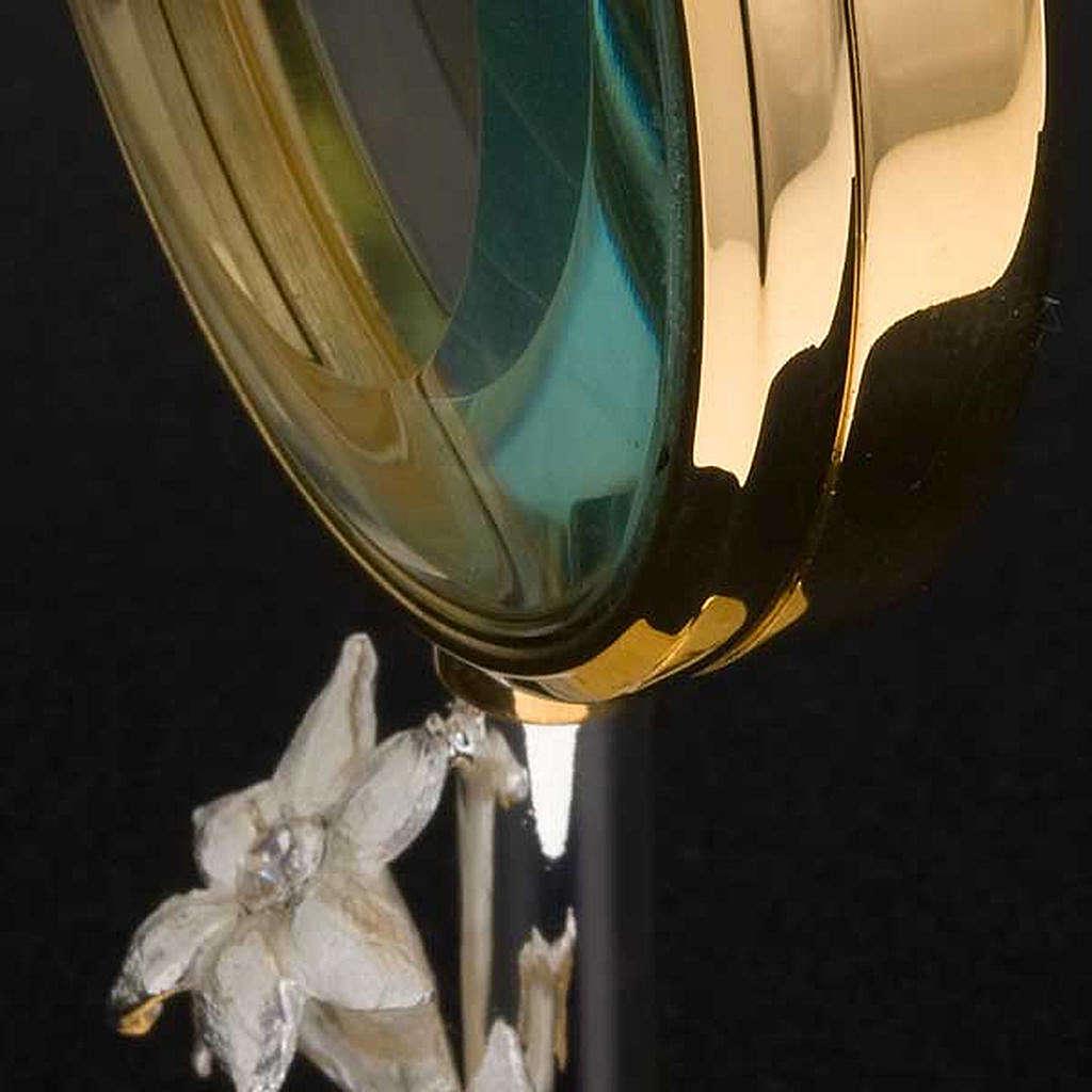 Ostensorio  teca de latón con lirios diámetro 8,5 4