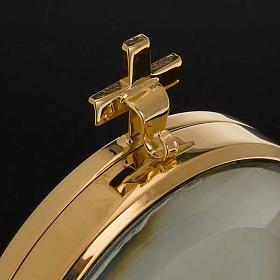 Ostensorio  teca de latón con lirios diámetro 8,5 s6