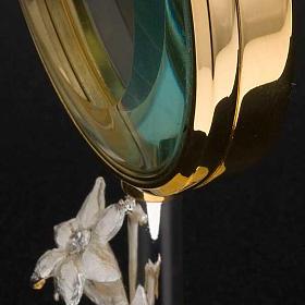 Ostensorio  teca de latón con lirios diámetro 8,5 s7