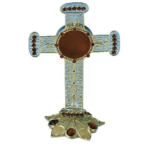 Reliquiario croce filigrana argento 800 strass 13 cm 1