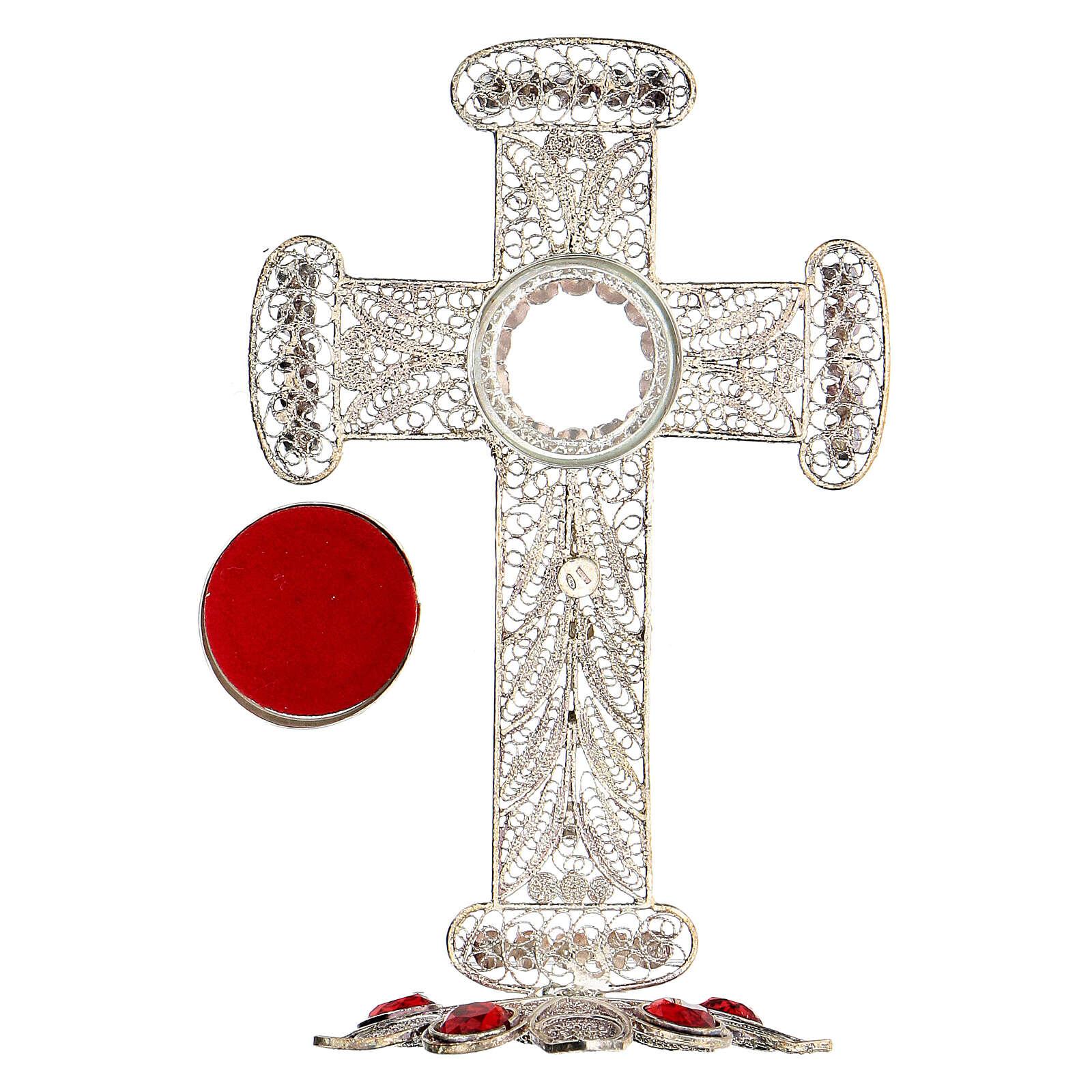 Reliquiario croce filigrana argento 800 strass h 11 cm 4