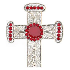 Reliquiario croce filigrana argento 800 strass h 11 cm s2