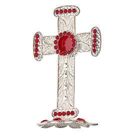 Reliquiario croce filigrana argento 800 strass h 11 cm s3