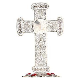 Reliquiario croce filigrana argento 800 strass h 11 cm s7