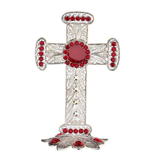 Reliquiario croce filigrana argento 800 strass h 11 cm 1