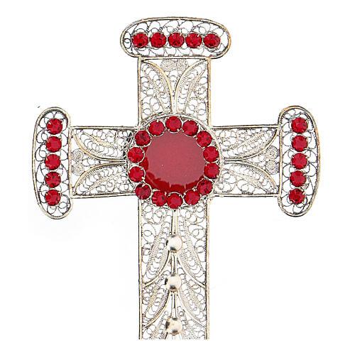 Reliquiario croce filigrana argento 800 strass h 11 cm 2