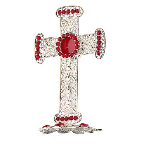 Reliquiario croce filigrana argento 800 strass h 11 cm 3
