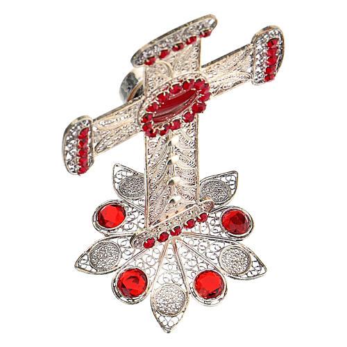 Reliquiario croce filigrana argento 800 strass h 11 cm 5