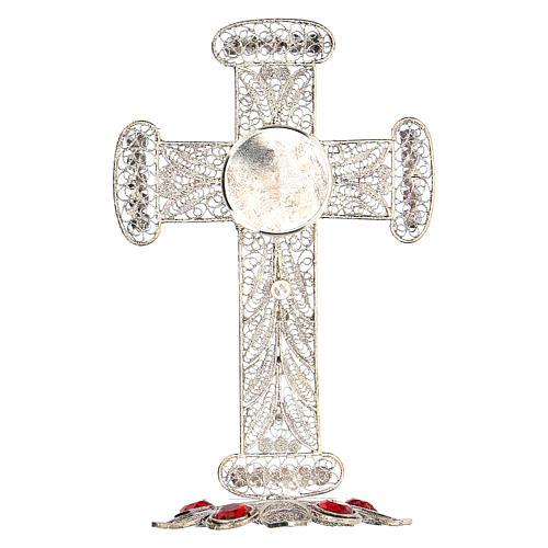 Reliquiario croce filigrana argento 800 strass h 11 cm 7