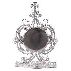 Reliquiario decori filigrana argento 800 strass h 9 cm s3