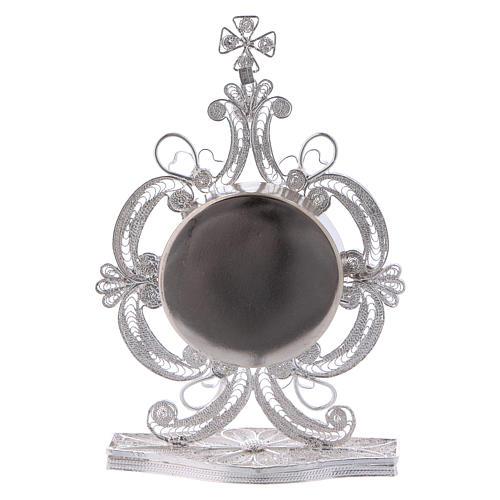 Reliquiario decori filigrana argento 800 strass h 9 cm 3