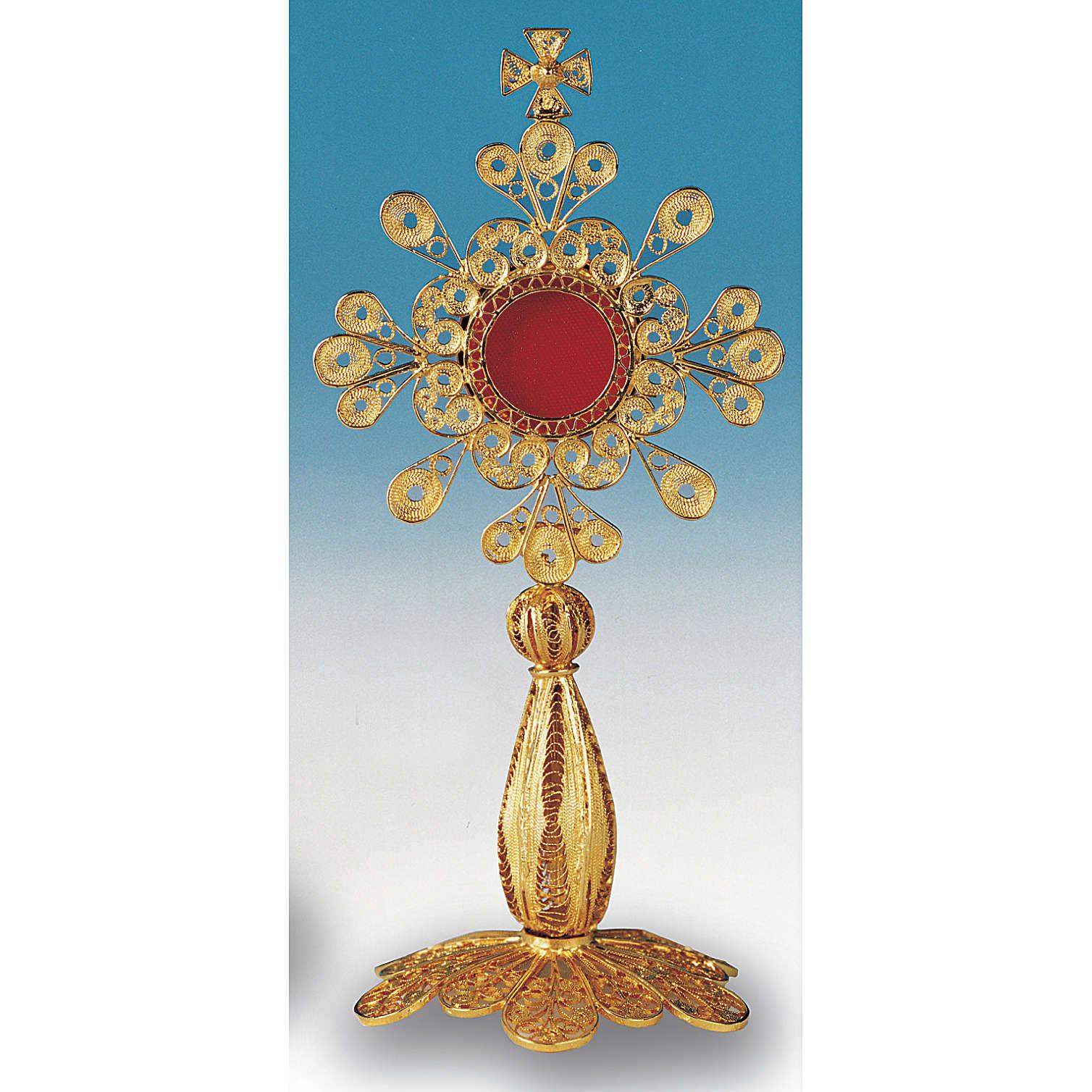 Reliquiario argento 800 dorato filigrana altezza 12 cm 4