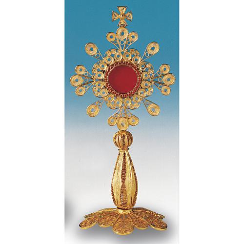 Reliquiario argento 800 dorato filigrana altezza 12 cm 2