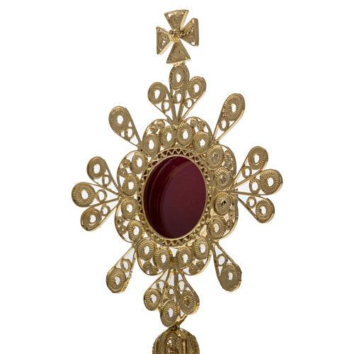 Reliquiario argento 800 dorato filigrana altezza 12 cm 5